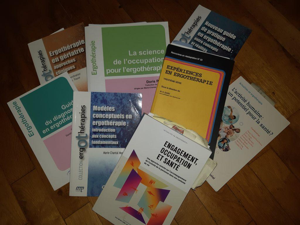 différents livres sur l'ergothérapie